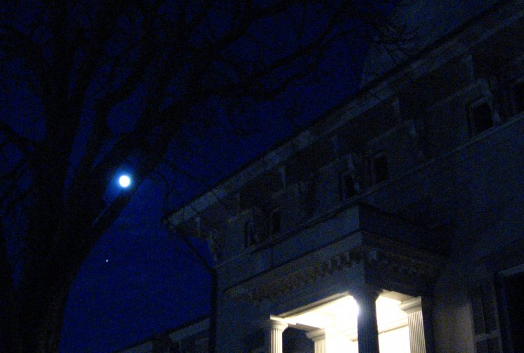 The Detroit Observatory, Moon, and Jupiter at night.