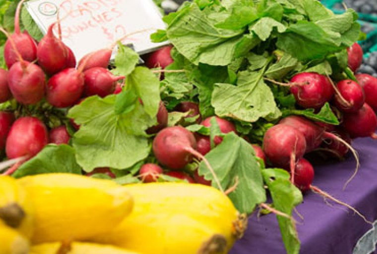 Fresh vegetables and fruits at M Farmers Market at East Ann Arbor Health Center
