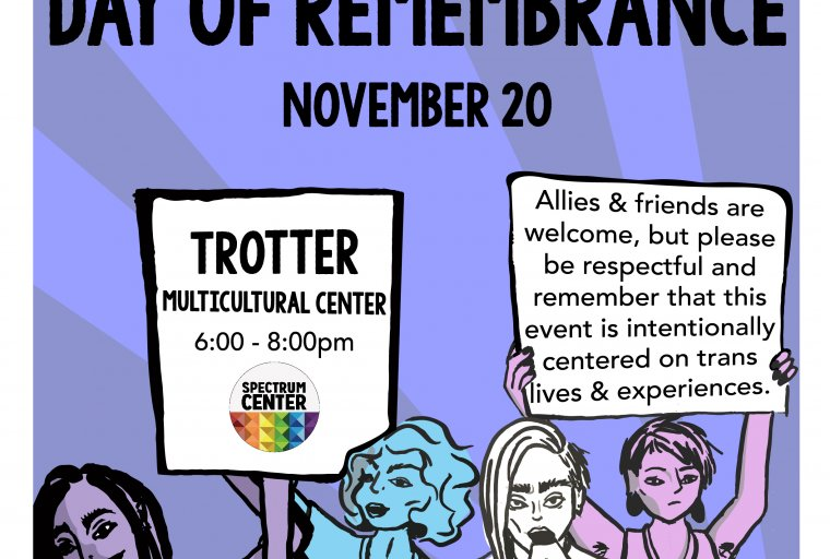 A flyer showing four people holding signs and loudspeakers, protesting transphobia. The flyer also has details on the event itself.