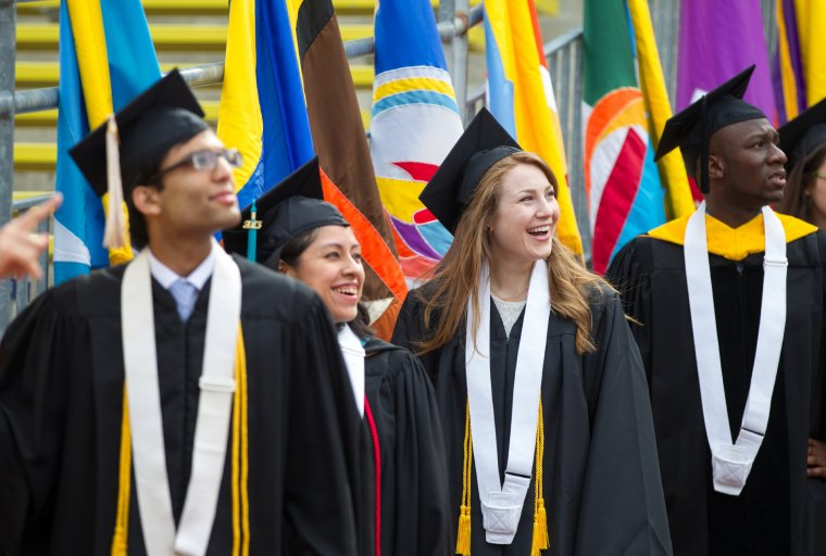 A group of Michigan graduates at commencement