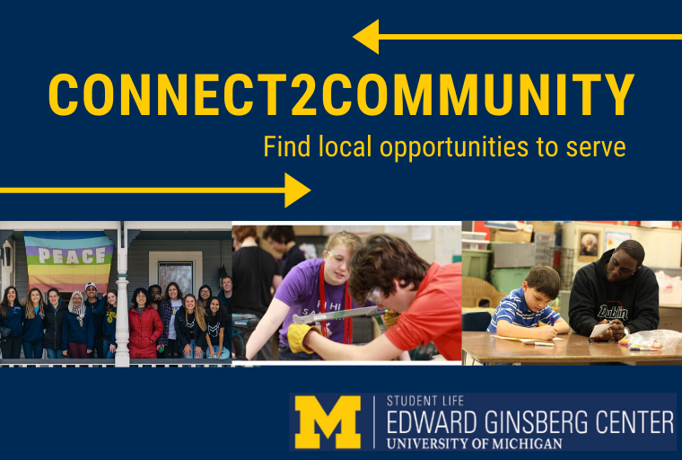 Connect2Community logo on blue background, with images of U-M students in various community settings.