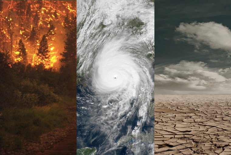 Photo of wildfire, hurricane and drought