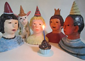 The Birthday Party: Ceramic Sculpture by Marcia Polenberg