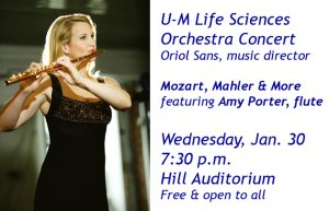 Amy Porter, flute, will play with the U-M Life Sciences Orchestra Jan. 30