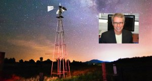 Image of a starry sky with a windmill in the foreground. Inset: Stacy McGaugh of