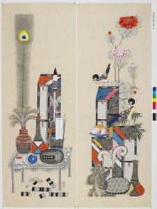 Yi, Ki Sun. Chaekkeori (Paintings of Bookshelves). Watercolor on paper.