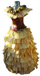 Corn husk dress made from leaves, Spanish moss, gourds, and corn husks