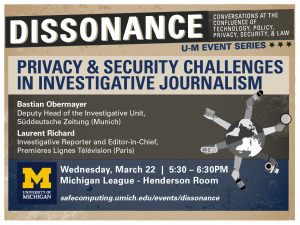 Dissonance Event Series: Privacy & Security Challenges in Investigative Journalism