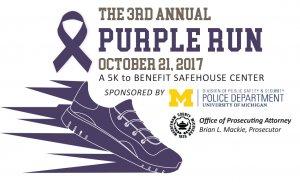 Purple Run logo shoe and ribbon