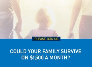 """Small child with parents with caption """"could your family live on $1500 a month?"""""""