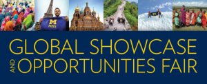 Event invite featuring photos of U-M students traveling in various locations around the world.