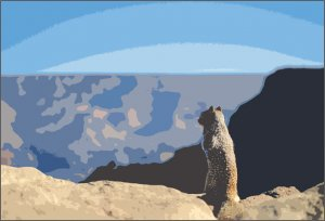 small mammal looking out over mountain scene, art