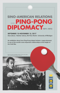 "Sino-American Relations and ""Ping-Pong Diplomacy,"" 1971-1972"