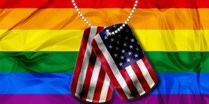 LGBT Flag behind dogtags