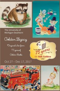 Images of Little Golden Books and text about events