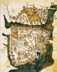 Map of Constantinople, 1422 CE, Cristoforo Buondelmonti. Source: http://libguides.ku.edu.tr/c.php?g=623293&p=4591414
