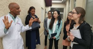 Students speaking with a physician from Addis Ababa