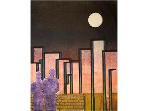 Monoprint, Artist Henry Schreibman, titled Date night