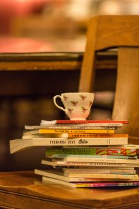 Teacup on poetry books