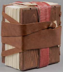 Binding Model based on Scheide Codex (Gospel according to Matthew, 4th/5th c.) Scheide Library, Princeton University, from the Julia Miller Collection of Bookbinding Models, Special Collections Research Center, University of Michigan