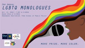 A flyer describing the event, with an image of a dark skinned individual speaking into a microphone, with rainbows going along the side
