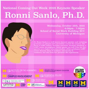 A pink flyer with a description of the event and an outline of a Ronni Sanlo's head, complete with glasses and pink/purple lipstick