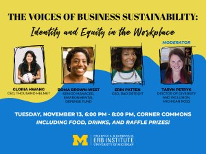 A yellow and blue graphic featuring photos of our panelists: Gloria Hwang - CEO of Thousand Helmet, Boma Brown-West - Senior Manager at Environmental Defense Fund, Erin Patten - CEO of DaO Detroit, and Taryn Petryk, Director of Diversity and Inclusion at Michigan Ross.