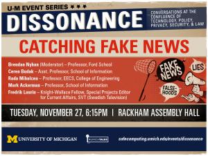 Dissonance: Catching Fake News, Nov. 27, 2018