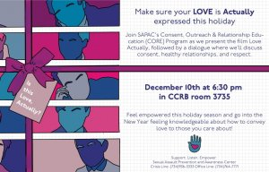 Recreation of Love Actually DVD cover in blue, pink, and purple, with same details as listed in event description.