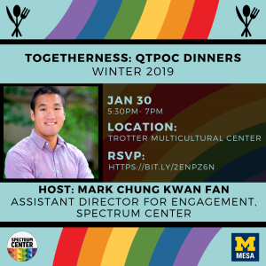 A flyer with a background of rainbows and a picture of the host, Mark Chung Kwan Fan, with other text that describes the details of the event