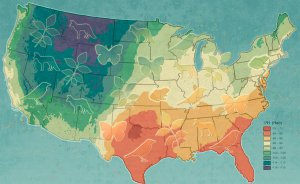 Gradient of deuterium, the heavy isotope of hydrogen, across the U.S. Illustration: John Megahan