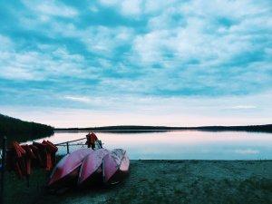 Peaceful sunrise on Douglas Lake.