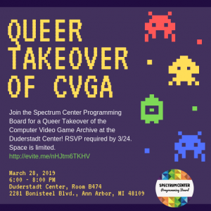 A purple flyer with pixelated text and video game characters