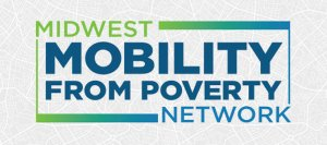 Logo for midwest mobility from poverty network, green, blue