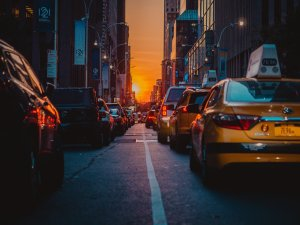 Sunset aligning with the streets of Manhattan.
