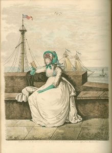 Morning dress illustration from Gallery of Fashion, Vol II, October 1795