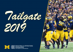 """""""Tailgate 2019"""" text with U-M Industrial & Operations Engineering logo"""
