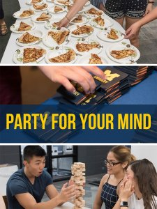 Collage of images: table with plates of pizza, hands grabbing post it notes with M Library logo, and 3 students playing jenga