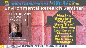"""09/10/2019 Bruce Tonn """"Health & Household-Related Benefits of Weatherizing Low-Income Homes & Affordable Multifamily Buildings"""""""