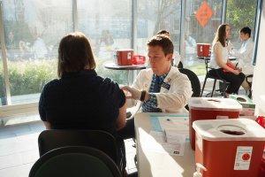 Patients receive flu vaccines