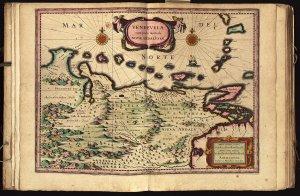 Venezuela: cum parte Australi, Novae Andalusiae, map from Appendix Atlantis Maioris. Amsterdam: Judocus Hondius, 1629. Clark Library.