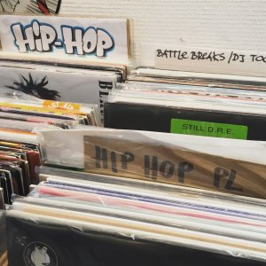 Hip-hop at a record store.