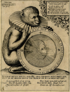 broadside of a monkey wearing a ruff and inviting the reader to look into the mirror it is holding