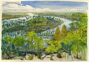 Vascular plant evolution painting. Credit Tom Phillips