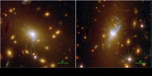 Hubble Space Telescope photos of two very active central galaxies in two different clusters of galaxies