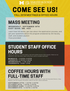 Semester in Detroit flyer with mass meeting, office hours, and coffee hours dates