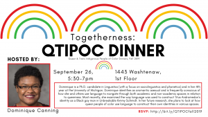 "The date, time, and location of September's Togetherness Dinner. Additionally, there is a shortened version of Dominique's ""about"" and a picture of her. Dominique is a Black woman with glasses and short, springy hair. She is smiling at the camera."