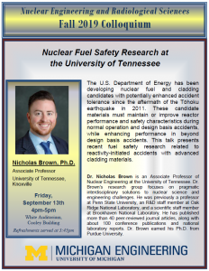 flyer of 9-13-19 NERS Colloquium:  Nicholas Brown, University of Tennessee, Knoxville