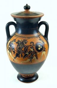 Greek vase with mythological scene
