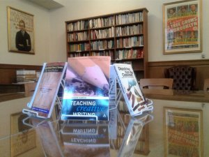 Books on teaching creative writing displayed in the Hopwood Room